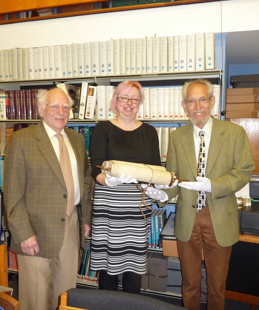 The Scroll being given by Hilary Bracegirdle the Museums Director to Harvey Kurzfield and Leslie Lipert – May 2013