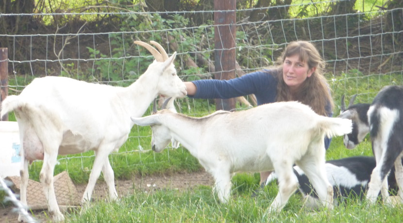 Louise Garcia with Goats in Ireland
