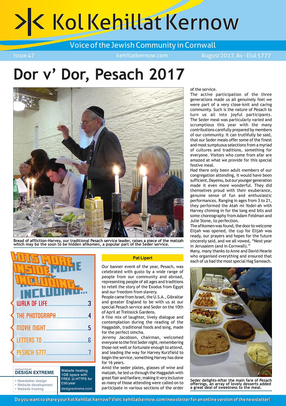 Kol Kehillat Kernow Cover - Issue 46 - April 2017