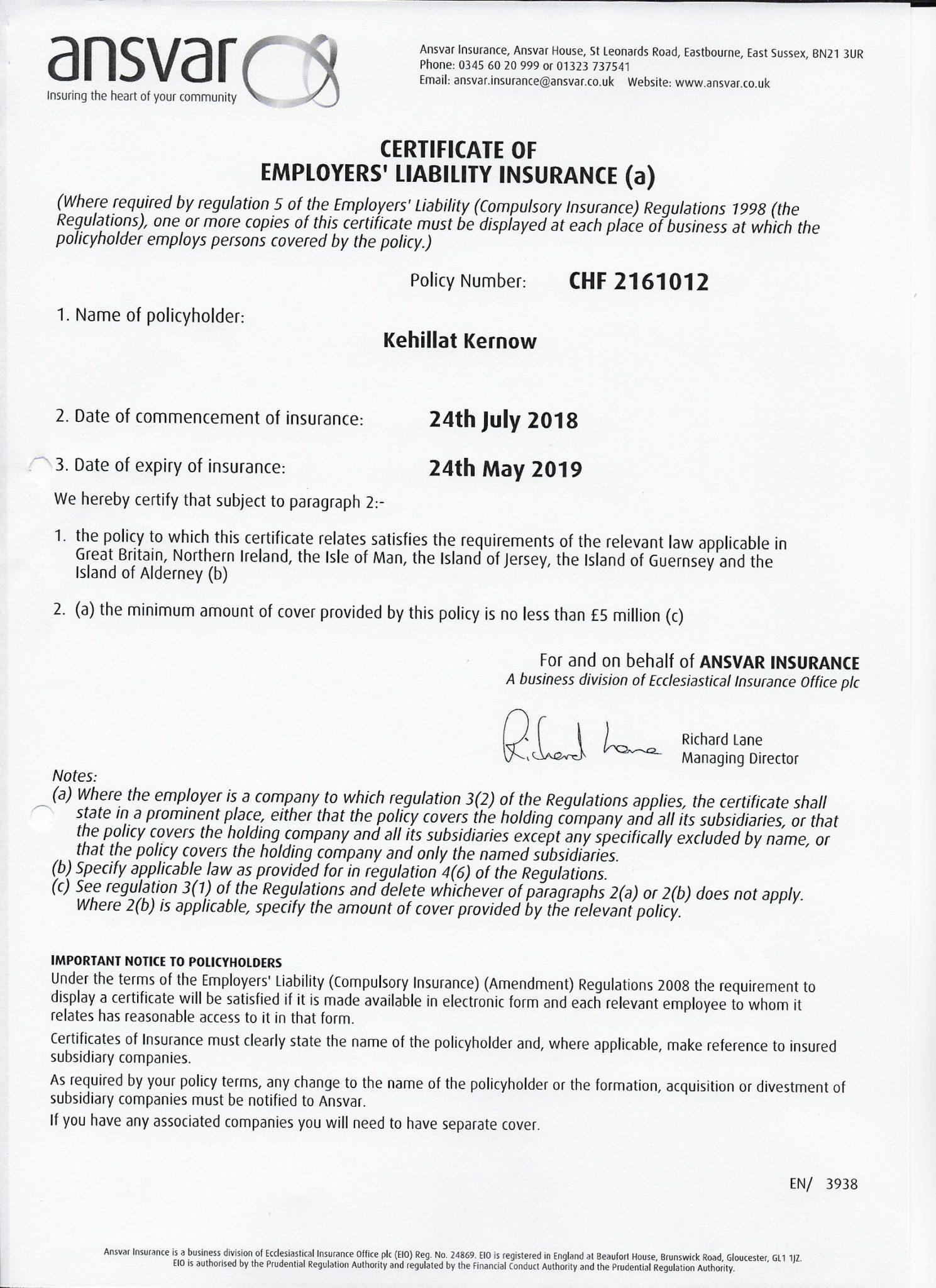 Certificate Of Employers Liability Insurance Kehillat Kernow